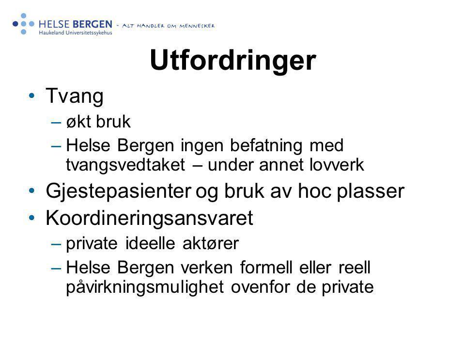Utfordringer Tvang –økt bruk –Helse Bergen ingen befatning med tvangsvedtaket – under annet lovverk Gjestepasienter og bruk av hoc plasser Koordinerin