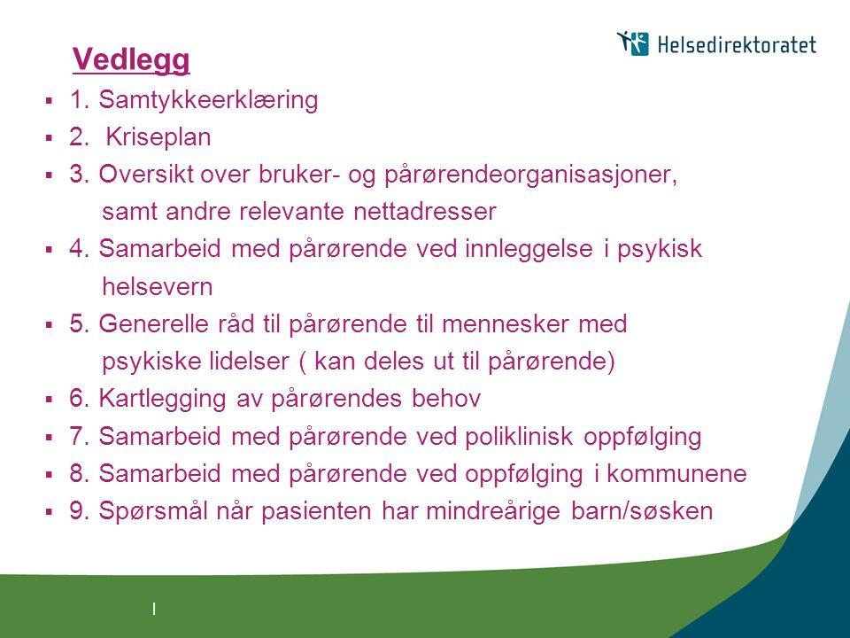 | Vedlegg  1. Samtykkeerklæring  2. Kriseplan  3. Oversikt over bruker- og pårørendeorganisasjoner, samt andre relevante nettadresser  4. Samarbei