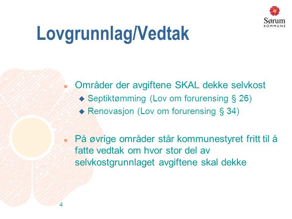 4 Lovgrunnlag/Vedtak n Områder der avgiftene SKAL dekke selvkost u Septiktømming (Lov om forurensing § 26) u Renovasjon (Lov om forurensing § 34) n På