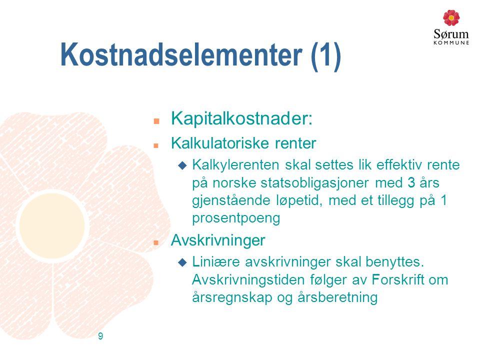 9 Kostnadselementer (1) n Kapitalkostnader: n Kalkulatoriske renter u Kalkylerenten skal settes lik effektiv rente på norske statsobligasjoner med 3 å