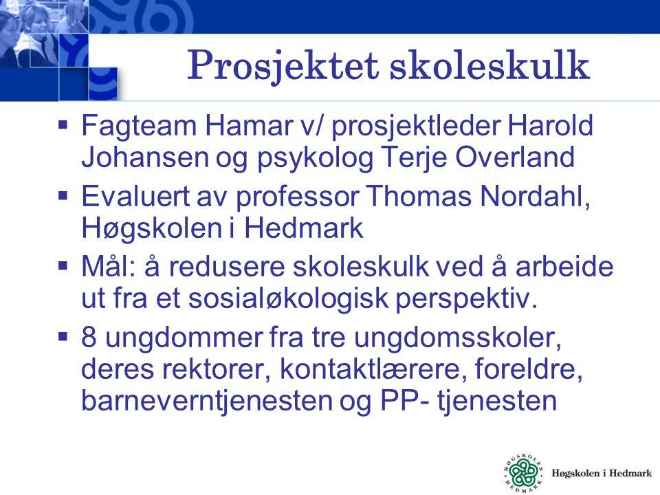 Prosjektet skoleskulk  Fagteam Hamar v/ prosjektleder Harold Johansen og psykolog Terje Overland  Evaluert av professor Thomas Nordahl, Høgskolen i