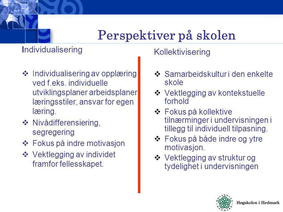 Perspektiver på skolen Individualisering  Individualisering av opplæring ved f.eks.