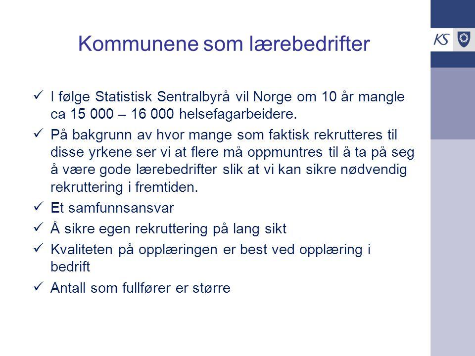 Kommunene som lærebedrifter I følge Statistisk Sentralbyrå vil Norge om 10 år mangle ca 15 000 – 16 000 helsefagarbeidere.