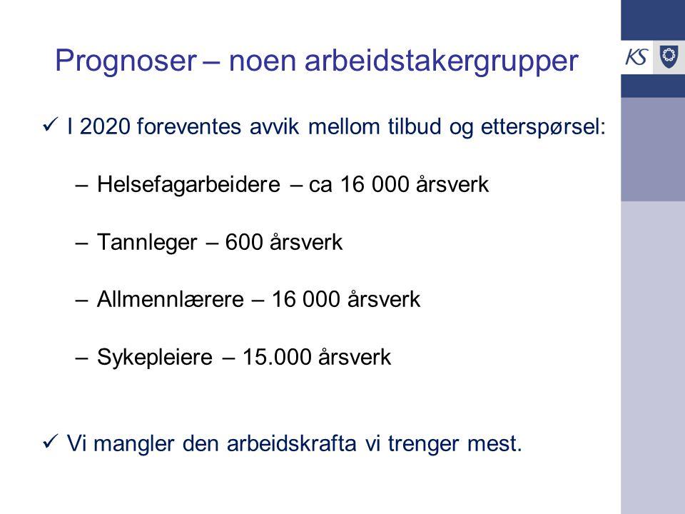Dagens rekrutteringssituasjon Store forskjeller mellom kommuner Kommunene skaffer kompetent arbeidskraft til faste stillinger.