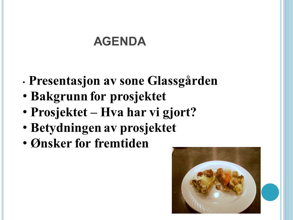 AGENDA Presentasjon av sone Glassgården Bakgrunn for prosjektet Prosjektet – Hva har vi gjort? Betydningen av prosjektet Ønsker for fremtiden