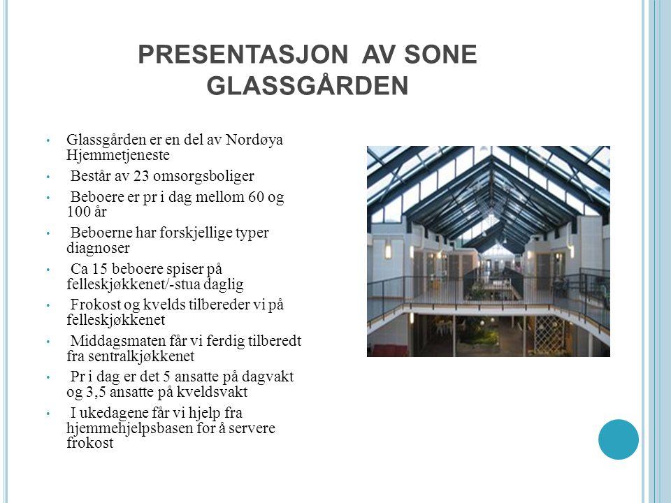 PRESENTASJON AV SONE GLASSGÅRDEN Glassgården er en del av Nordøya Hjemmetjeneste Består av 23 omsorgsboliger Beboere er pr i dag mellom 60 og 100 år B