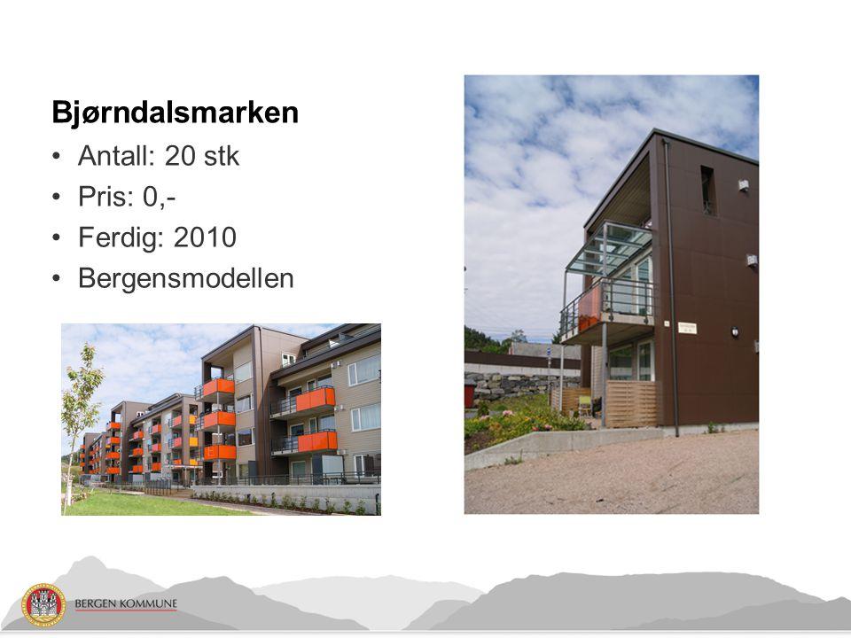 Bjørndalsmarken Antall: 20 stk Pris: 0,- Ferdig: 2010 Bergensmodellen