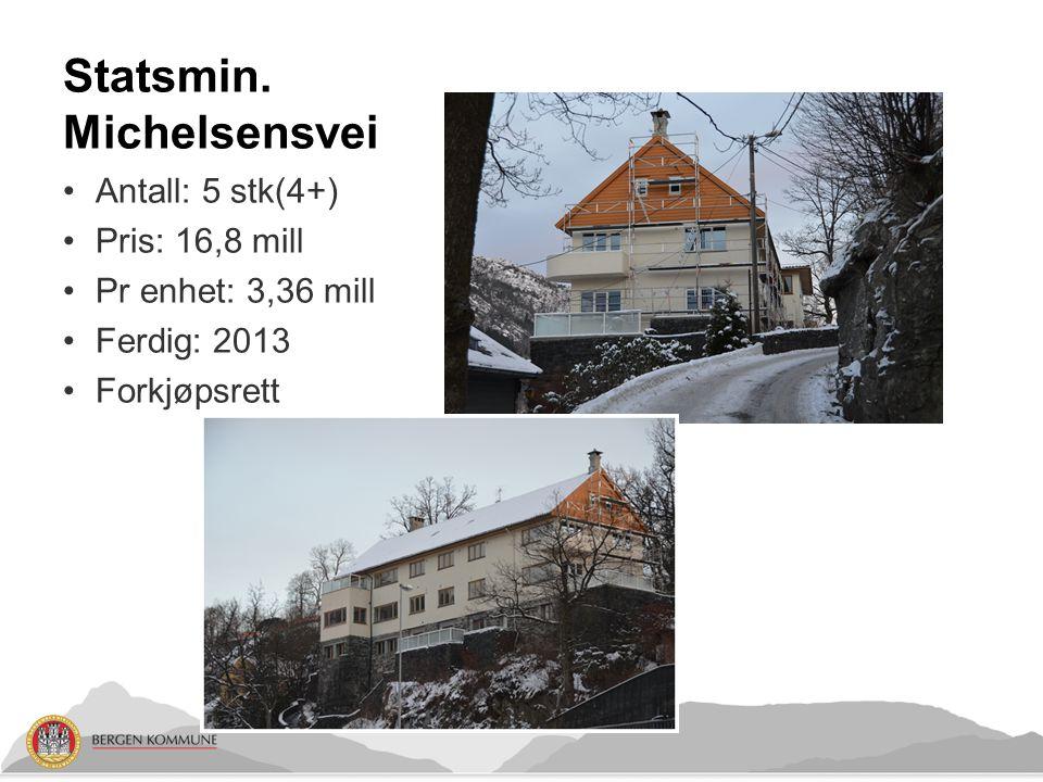 Statsmin. Michelsensvei Antall: 5 stk(4+) Pris: 16,8 mill Pr enhet: 3,36 mill Ferdig: 2013 Forkjøpsrett