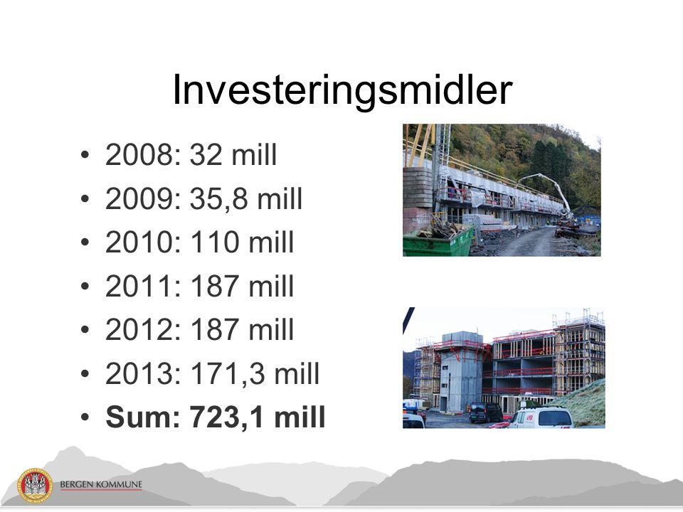 Investeringsmidler 2008: 32 mill 2009: 35,8 mill 2010: 110 mill 2011: 187 mill 2012: 187 mill 2013: 171,3 mill Sum: 723,1 mill