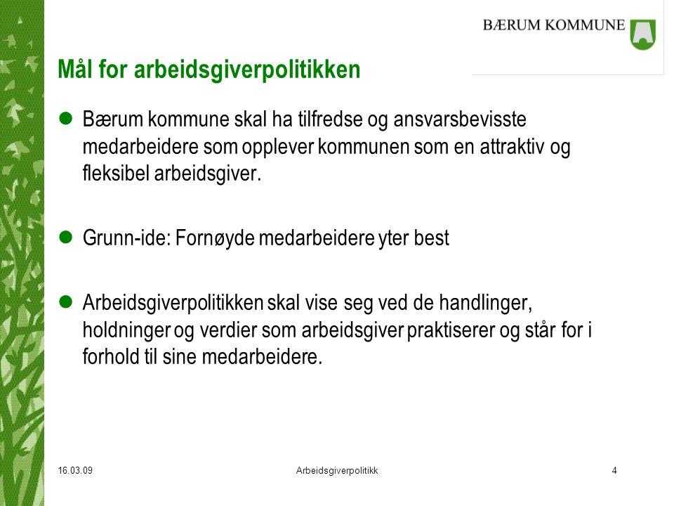 16.03.09Arbeidsgiverpolitikk5 Lederrollen lLedere i Bærum kommune skal være tydelige, synlige og forutsigbare lLederne skal tilrettelegge for samhandling basert på dialog og tillit med utgangspunkt i felles verdier.