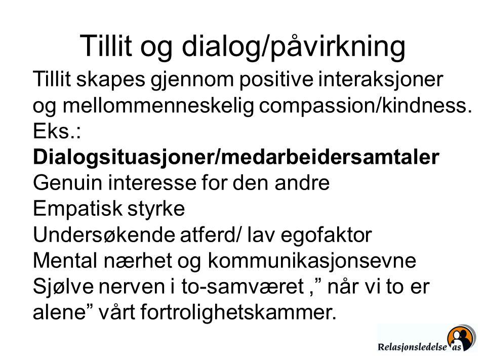Tillit og dialog/påvirkning Tillit skapes gjennom positive interaksjoner og mellommenneskelig compassion/kindness. Eks.: Dialogsituasjoner/medarbeider