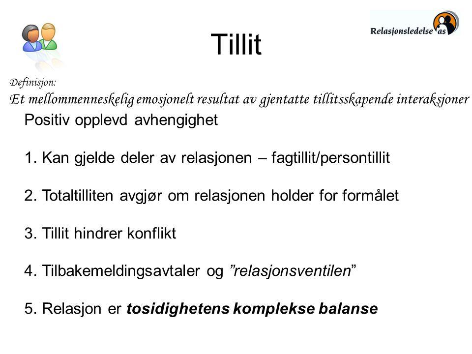 Tillit Definisjon: Et mellommenneskelig emosjonelt resultat av gjentatte tillitsskapende interaksjoner Positiv opplevd avhengighet 1.Kan gjelde deler