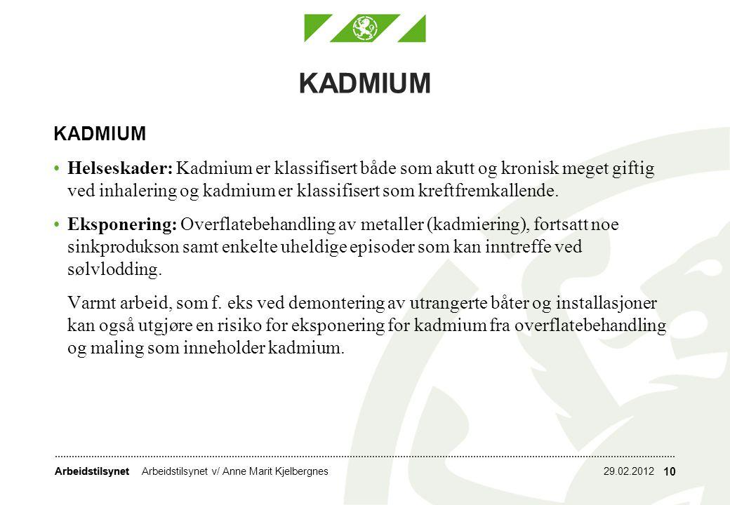 Arbeidstilsynet KADMIUM Helseskader: Kadmium er klassifisert både som akutt og kronisk meget giftig ved inhalering og kadmium er klassifisert som kref