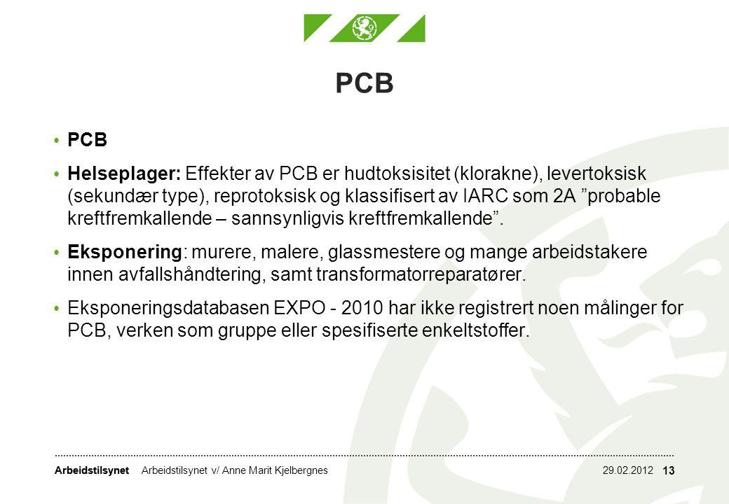 Arbeidstilsynet PCB Helseplager: Effekter av PCB er hudtoksisitet (klorakne), levertoksisk (sekundær type), reprotoksisk og klassifisert av IARC som 2