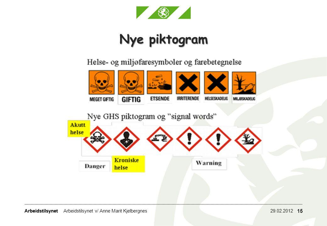 Arbeidstilsynet 29.02.2012Arbeidstilsynet v/ Anne Marit Kjelbergnes 15 Nye piktogram