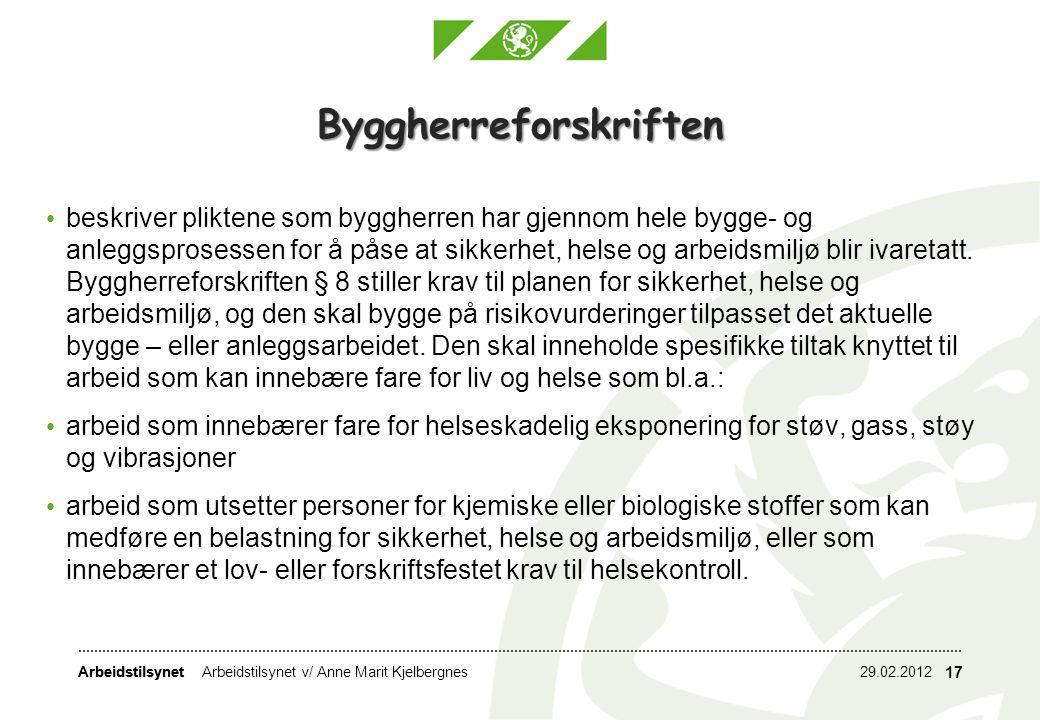 Arbeidstilsynet 29.02.2012Arbeidstilsynet v/ Anne Marit Kjelbergnes 17 Byggherreforskriften beskriver pliktene som byggherren har gjennom hele bygge-