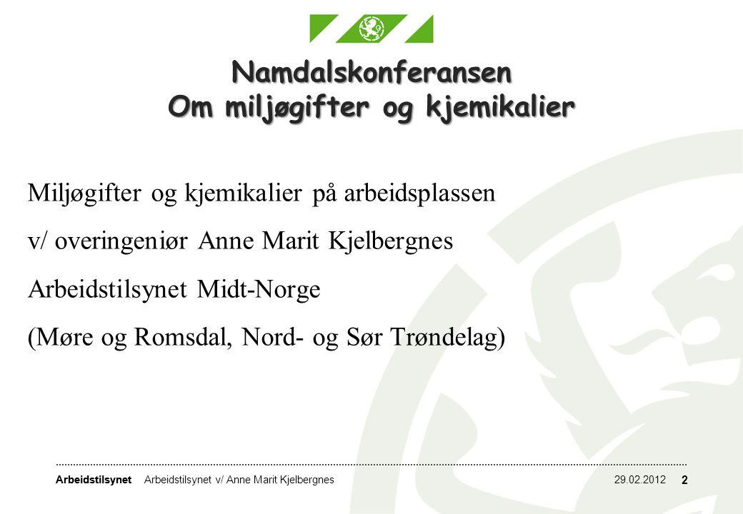 Arbeidstilsynet 29.02.2012Arbeidstilsynet v/ Anne Marit Kjelbergnes 2 Namdalskonferansen Om miljøgifter og kjemikalier Miljøgifter og kjemikalier på a