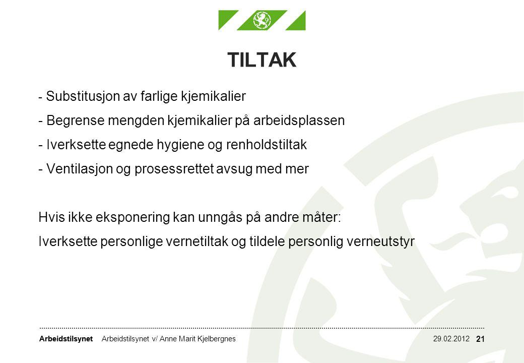 Arbeidstilsynet TILTAK 29.02.2012Arbeidstilsynet v/ Anne Marit Kjelbergnes 21 - Substitusjon av farlige kjemikalier - Begrense mengden kjemikalier på
