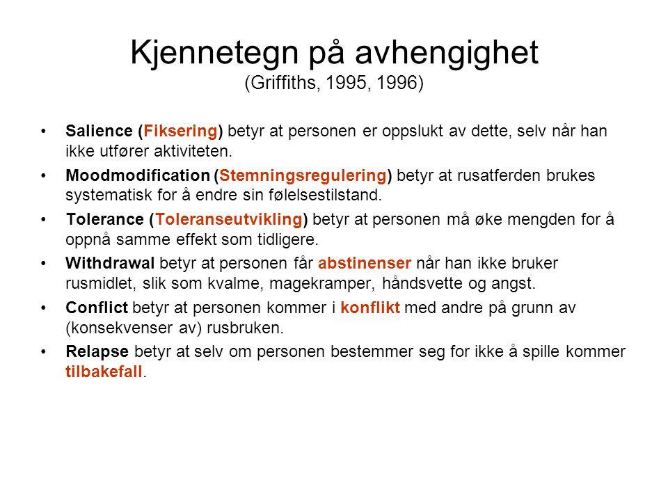 Kjennetegn på avhengighet (Griffiths, 1995, 1996) Salience (Fiksering) betyr at personen er oppslukt av dette, selv når han ikke utfører aktiviteten.