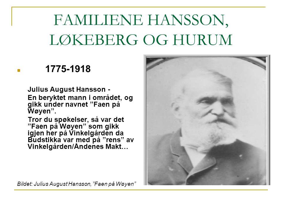 """FAMILIENE HANSSON, LØKEBERG OG HURUM 1775-1918 Julius August Hansson - En beryktet mann i området, og gikk under navnet """"Faen på Wøyen"""". Tror du spøke"""