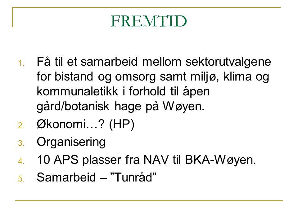 FREMTID 1. Få til et samarbeid mellom sektorutvalgene for bistand og omsorg samt miljø, klima og kommunaletikk i forhold til åpen gård/botanisk hage p