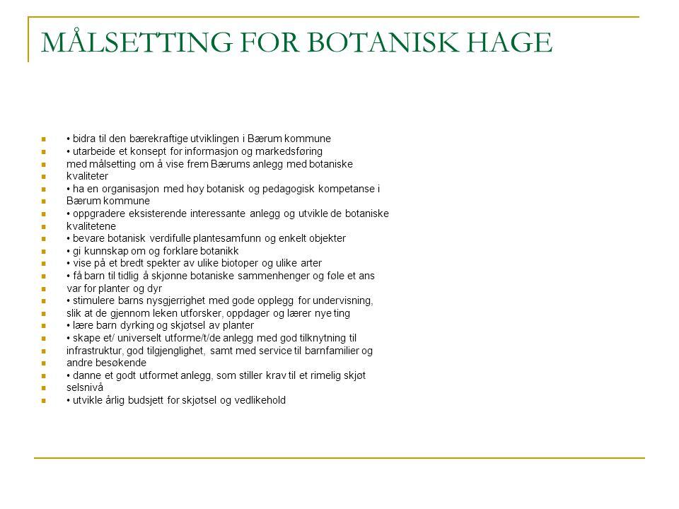 MÅLSETTING FOR BOTANISK HAGE bidra til den bærekraftige utviklingen i Bærum kommune utarbeide et konsept for informasjon og markedsføring med målsetti