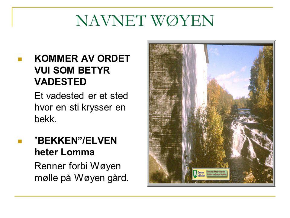 """NAVNET WØYEN KOMMER AV ORDET VUI SOM BETYR VADESTED Et vadested er et sted hvor en sti krysser en bekk. """"BEKKEN""""/ELVEN heter Lomma Renner forbi Wøyen"""