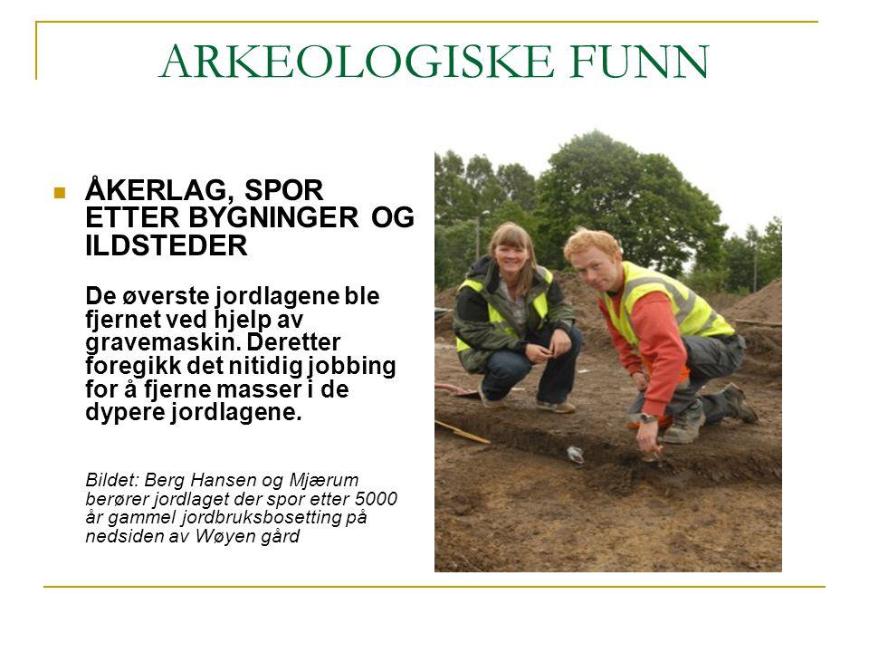 ARKEOLOGISKE FUNN ÅKERLAG, SPOR ETTER BYGNINGER OG ILDSTEDER De øverste jordlagene ble fjernet ved hjelp av gravemaskin. Deretter foregikk det nitidig