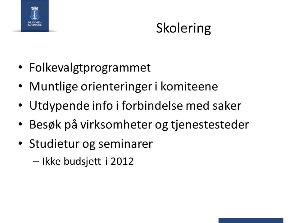 Helse og omsorg – Programområde 05 Tiltak2012201320142015 Forskjøvet oppstart Schwartsgt bemanning-9,0 Forskjøvet oppstart Blentenborg-2,1 Erstatningsplasser i påvente av Blentenborg2,1 Samhandlingsreformen73,0 Base på sykehuset (netto)0,4 Rammejustering pleie og omsorgsseksjonen-10,0 Økte FDV-kostnader Losjeplassen0,2 Redusert tilskudd Legevakta i Drammensregionen IKS-0,3 Demografi3,08,013,018,0 Fagskolen avsluttes i 20120,4-1,5 Husleie Wergelandsgt.