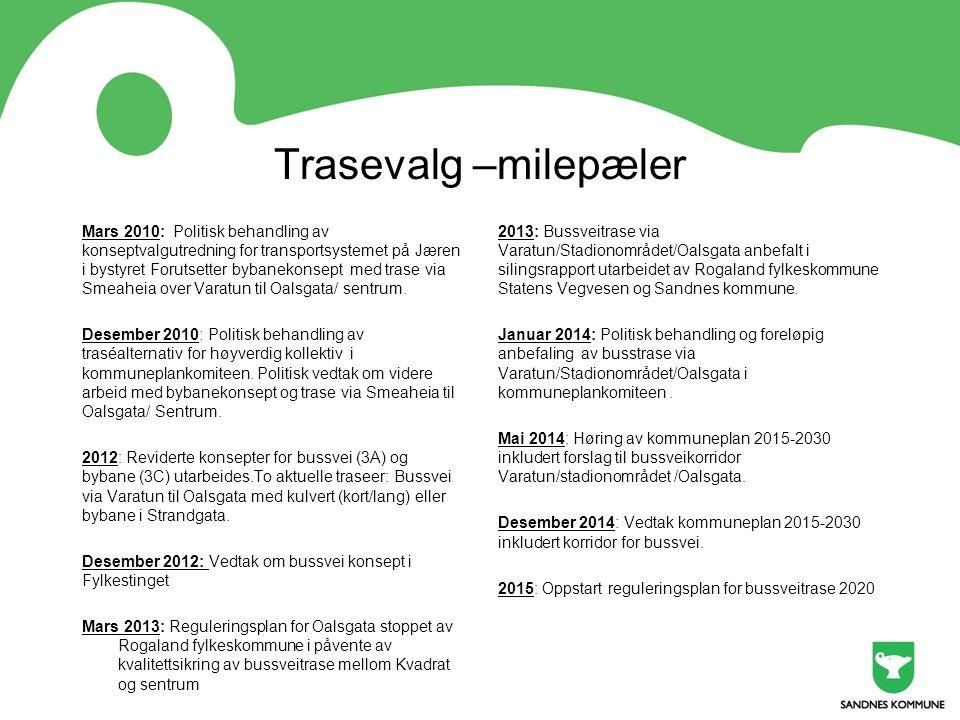 Trasevalg –milepæler Mars 2010: Politisk behandling av konseptvalgutredning for transportsystemet på Jæren i bystyret Forutsetter bybanekonsept med tr