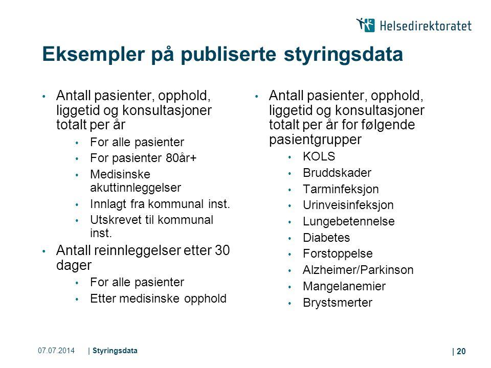 07.07.2014| Styringsdata | 20 Eksempler på publiserte styringsdata Antall pasienter, opphold, liggetid og konsultasjoner totalt per år For alle pasien
