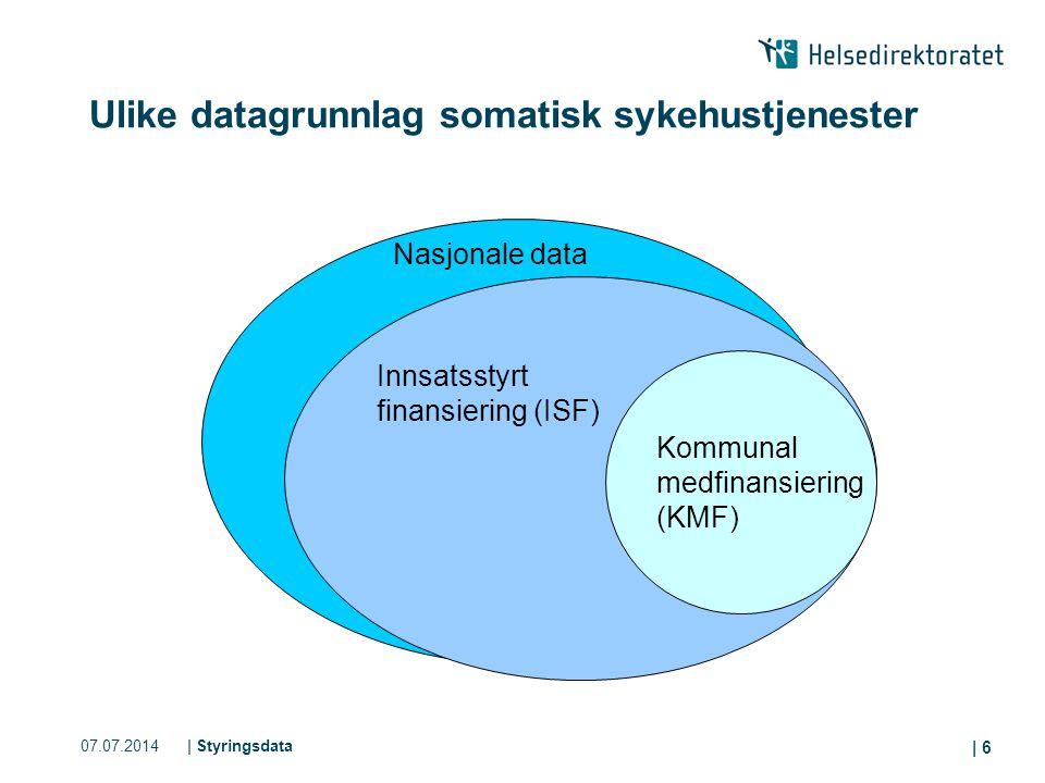 07.07.2014| Styringsdata | 6 Ulike datagrunnlag somatisk sykehustjenester Nasjonale data Innsatsstyrt finansiering (ISF) Kommunal medfinansiering (KMF