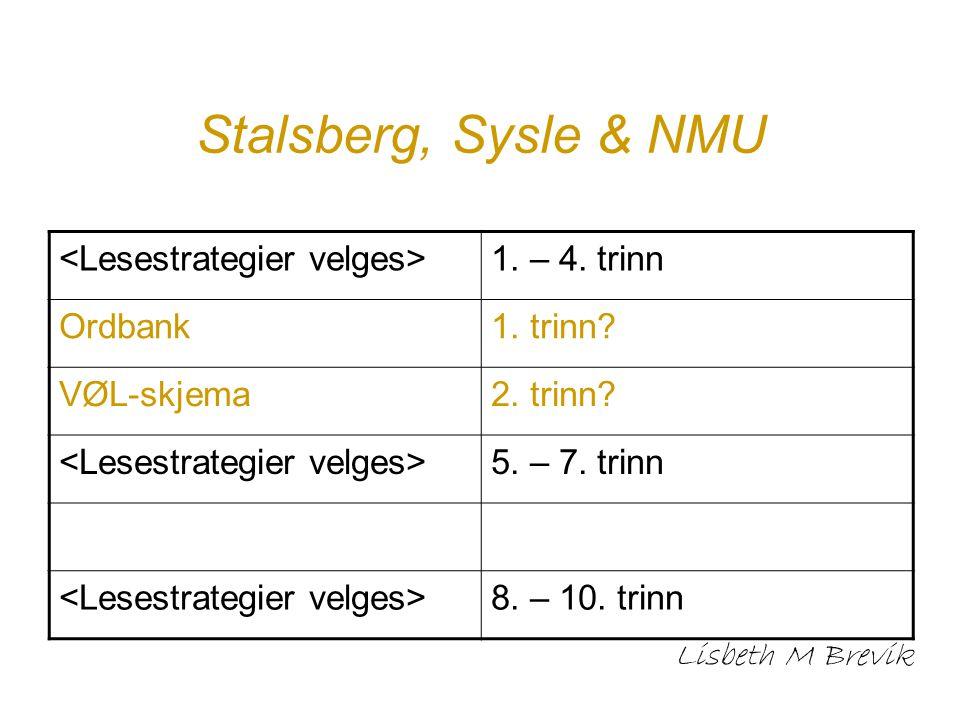 Stalsberg, Sysle & NMU Lisbeth M Brevik 1. – 4. trinn Ordbank1. trinn? VØL-skjema2. trinn? 5. – 7. trinn 8. – 10. trinn