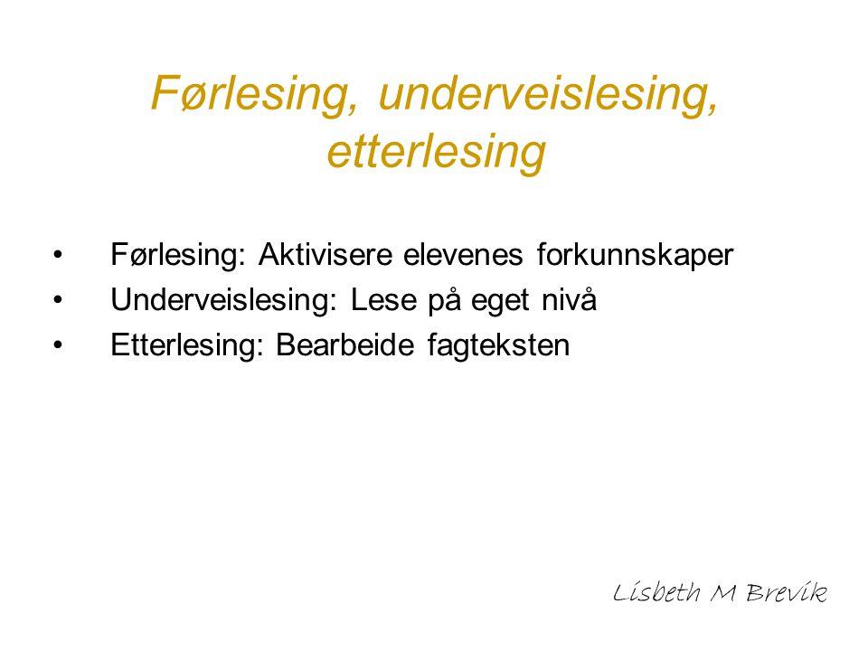 Førlesing, underveislesing, etterlesing Førlesing: Aktivisere elevenes forkunnskaper Underveislesing: Lese på eget nivå Etterlesing: Bearbeide fagteks
