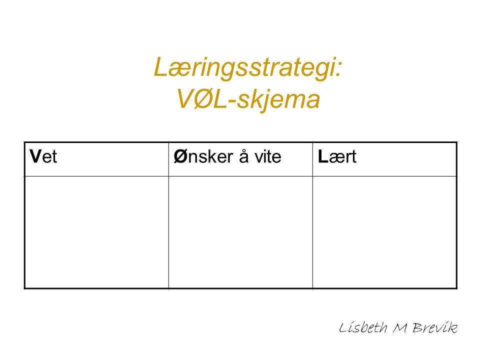 Læringsstrategi: VØL-skjema Lisbeth M Brevik VetØnsker å viteLært