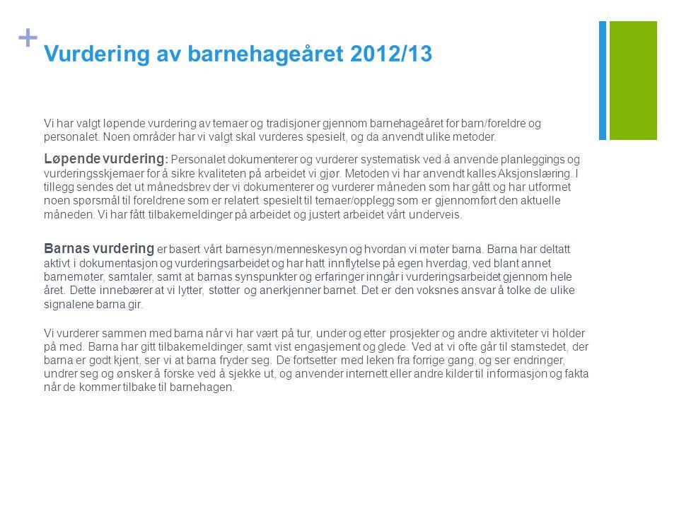 + Vurdering av barnehageåret 2012/13 Vi har valgt løpende vurdering av temaer og tradisjoner gjennom barnehageåret for barn/foreldre og personalet. No