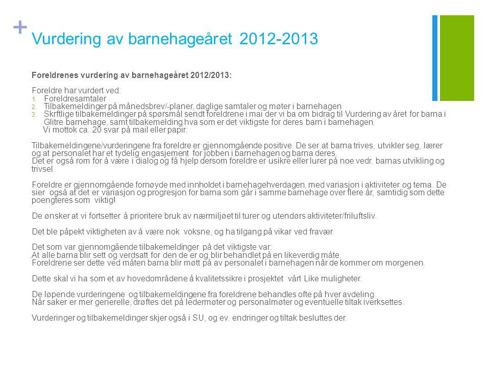 + Vurdering av barnehageåret 2012-2013 Foreldrenes vurdering av barnehageåret 2012/2013: Foreldre har vurdert ved: 1. Foreldresamtaler 2. Tilbakemeldi