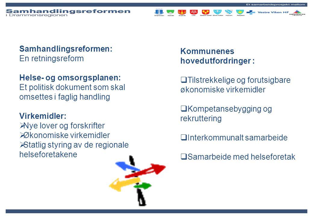 Samhandlingsreformen: En retningsreform Helse- og omsorgsplanen: Et politisk dokument som skal omsettes i faglig handling Virkemidler:  Nye lover og