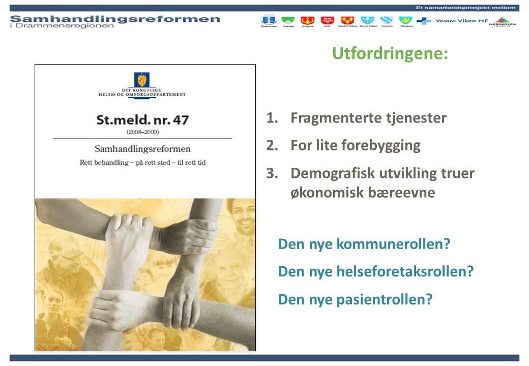 Organisering – særskilte prosjektutfordringer Vestfold Kongs- berg sykehus Egen legevakt Bærum sykehus Asker