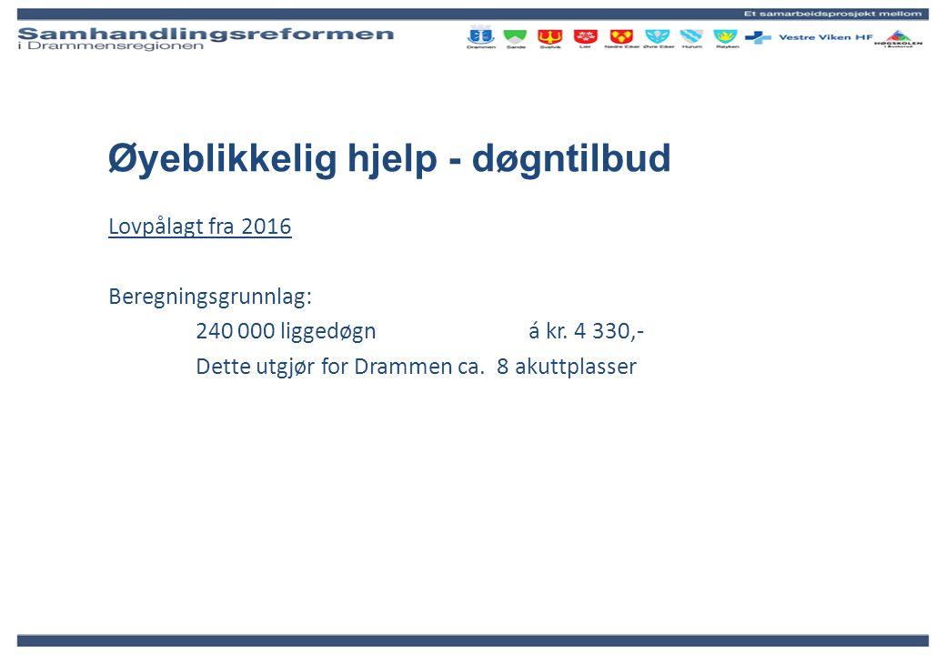 Øyeblikkelig hjelp - døgntilbud Lovpålagt fra 2016 Beregningsgrunnlag: 240 000 liggedøgn á kr. 4 330,- Dette utgjør for Drammen ca. 8 akuttplasser