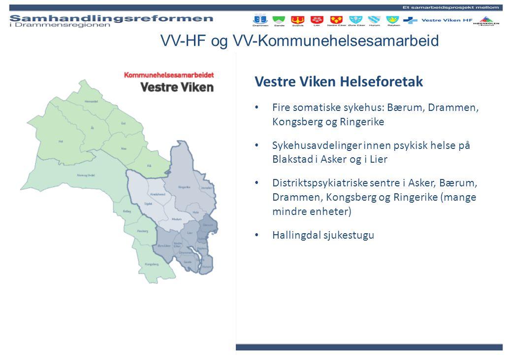 VV-HF og VV-Kommunehelsesamarbeid Vestre Viken Helseforetak Fire somatiske sykehus: Bærum, Drammen, Kongsberg og Ringerike Sykehusavdelinger innen psy
