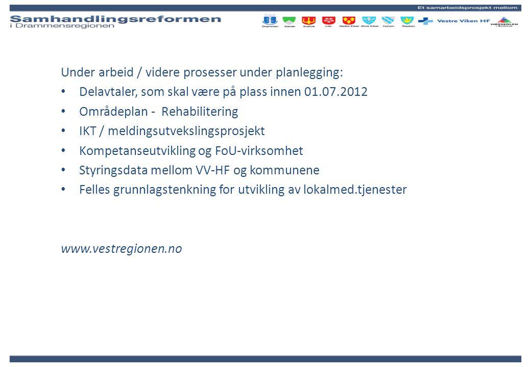 Under arbeid / videre prosesser under planlegging: Delavtaler, som skal være på plass innen 01.07.2012 Områdeplan - Rehabilitering IKT / meldingsutvek