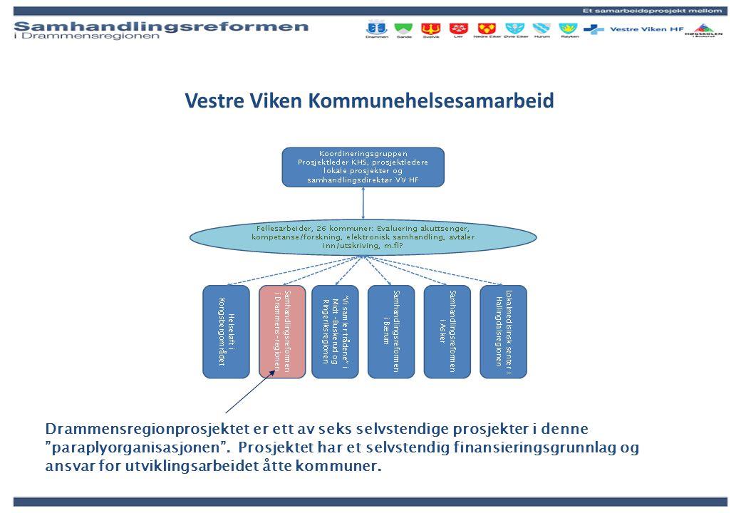 """Vestre Viken Kommunehelsesamarbeid Drammensregionprosjektet er ett av seks selvstendige prosjekter i denne """"paraplyorganisasjonen"""". Prosjektet har et"""