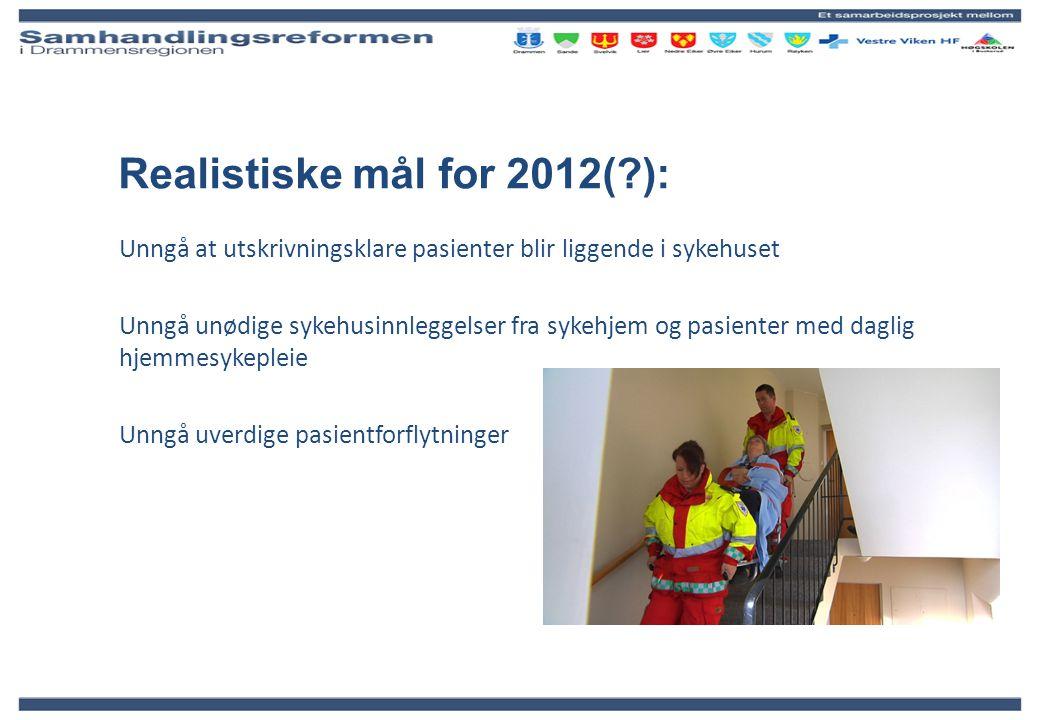 Realistiske mål for 2012(?): Unngå at utskrivningsklare pasienter blir liggende i sykehuset Unngå unødige sykehusinnleggelser fra sykehjem og pasiente