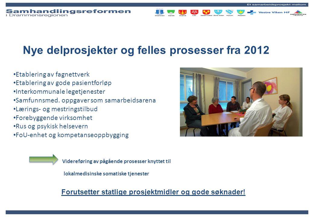 Nye delprosjekter og felles prosesser fra 2012 Etablering av fagnettverk Etablering av gode pasientforløp Interkommunale legetjenester Samfunnsmed. op