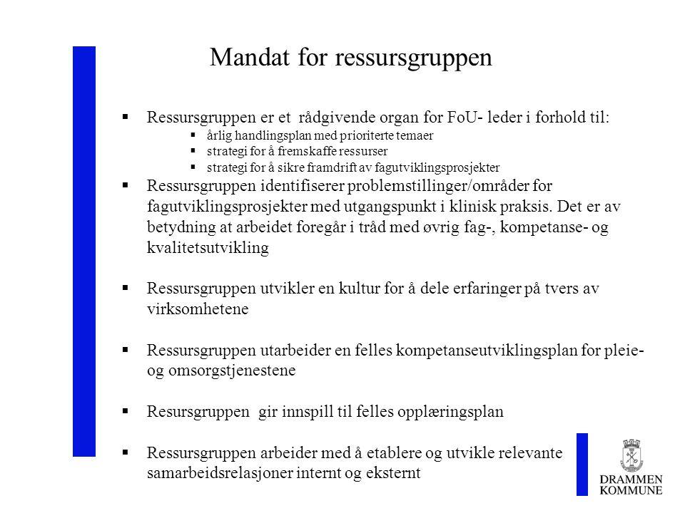 Mandat for ressursgruppen  Ressursgruppen er et rådgivende organ for FoU- leder i forhold til:  årlig handlingsplan med prioriterte temaer  strateg