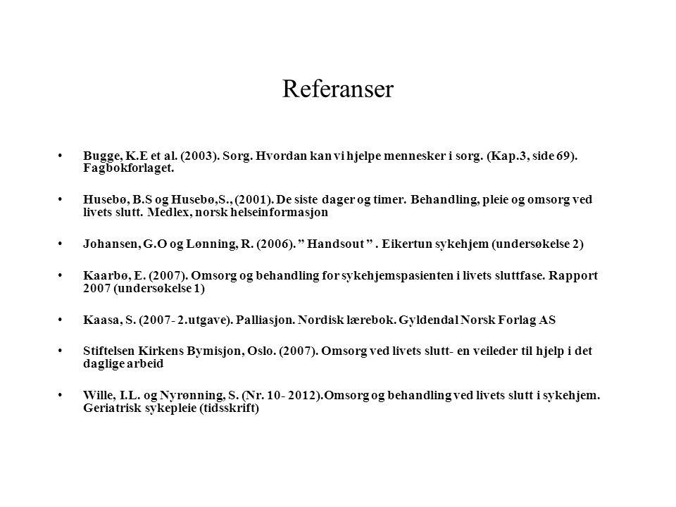 Referanser Bugge, K.E et al.(2003). Sorg. Hvordan kan vi hjelpe mennesker i sorg.