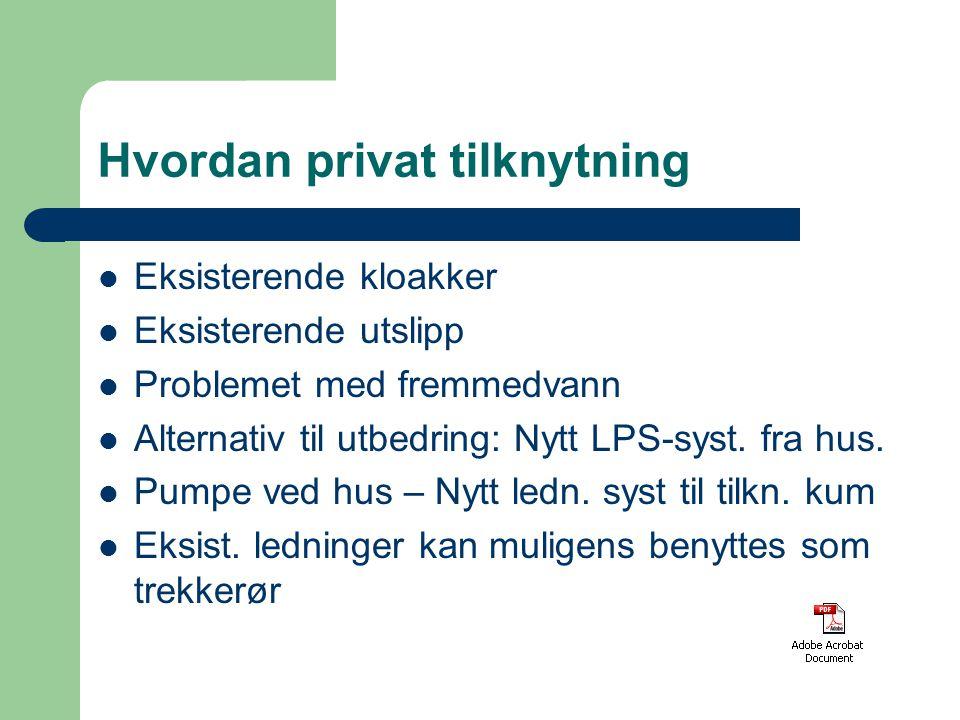 Hvordan privat tilknytning Eksisterende kloakker Eksisterende utslipp Problemet med fremmedvann Alternativ til utbedring: Nytt LPS-syst. fra hus. Pump