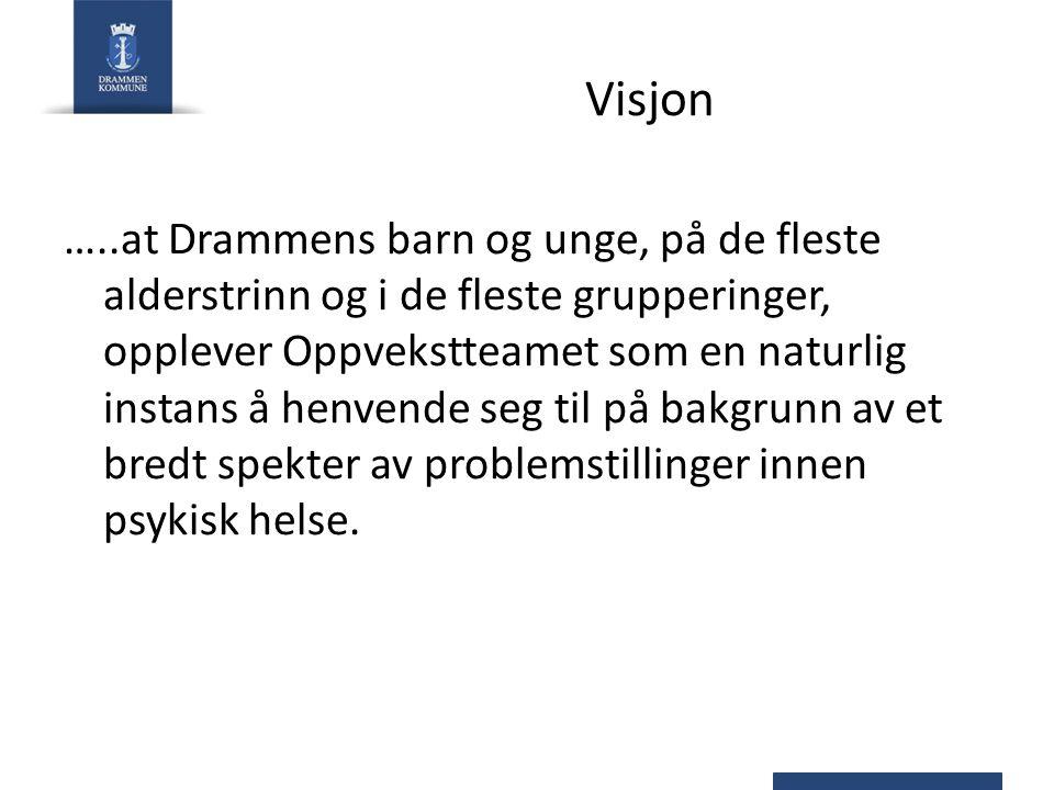 Visjon …..at Drammens barn og unge, på de fleste alderstrinn og i de fleste grupperinger, opplever Oppvekstteamet som en naturlig instans å henvende s