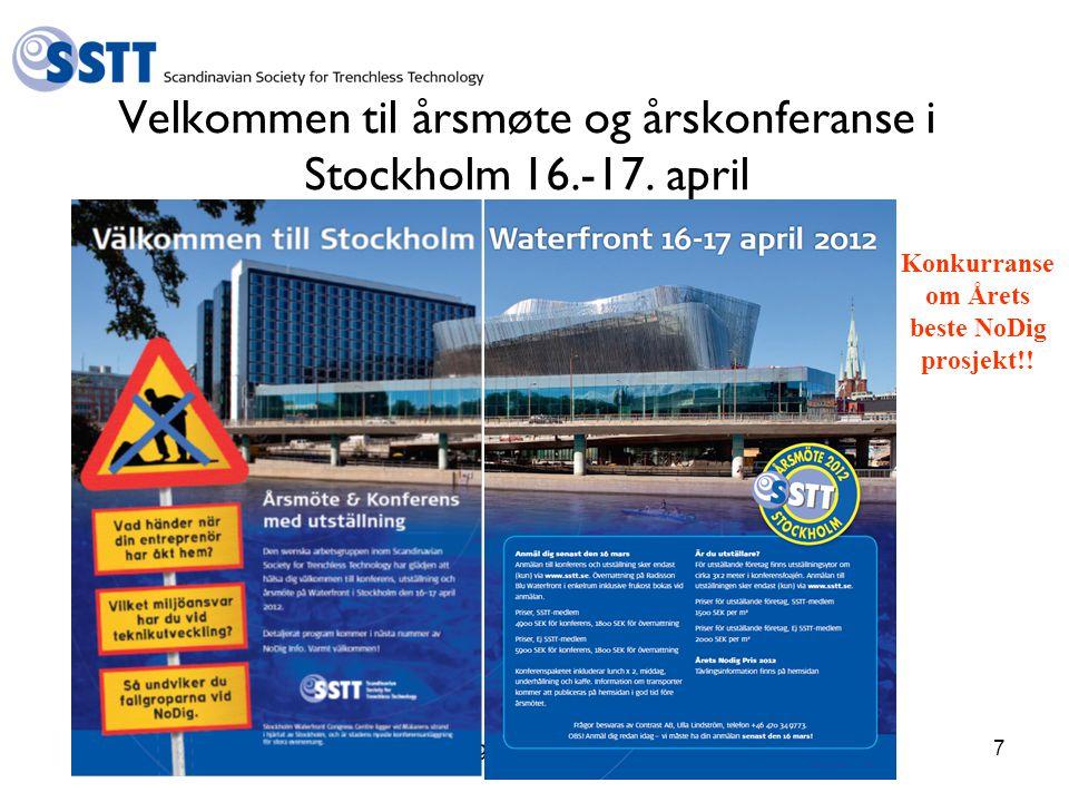 Hallingtreff 2012 - SSTT7 Velkommen til årsmøte og årskonferanse i Stockholm 16.-17.